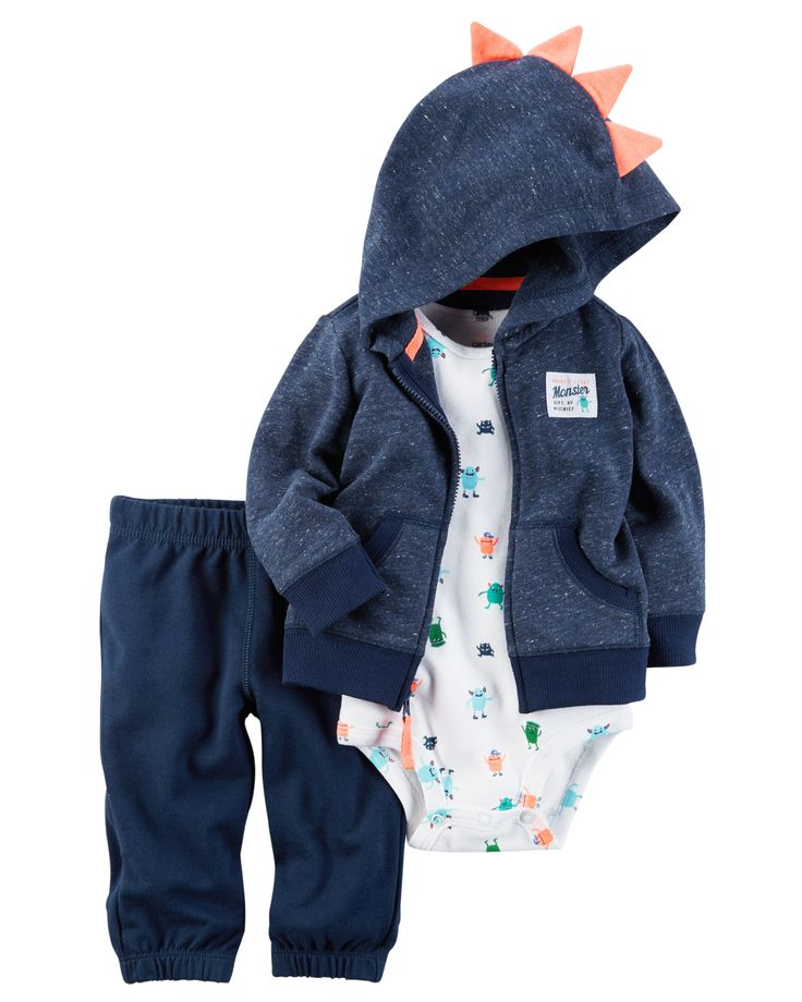 Designed for all-day play, dressing is easy with this ready-to-wear matching set. Featuring a zip-up French terry jacket and pants, this 3-piece set is complete with a coordinating cotton bodysuit.