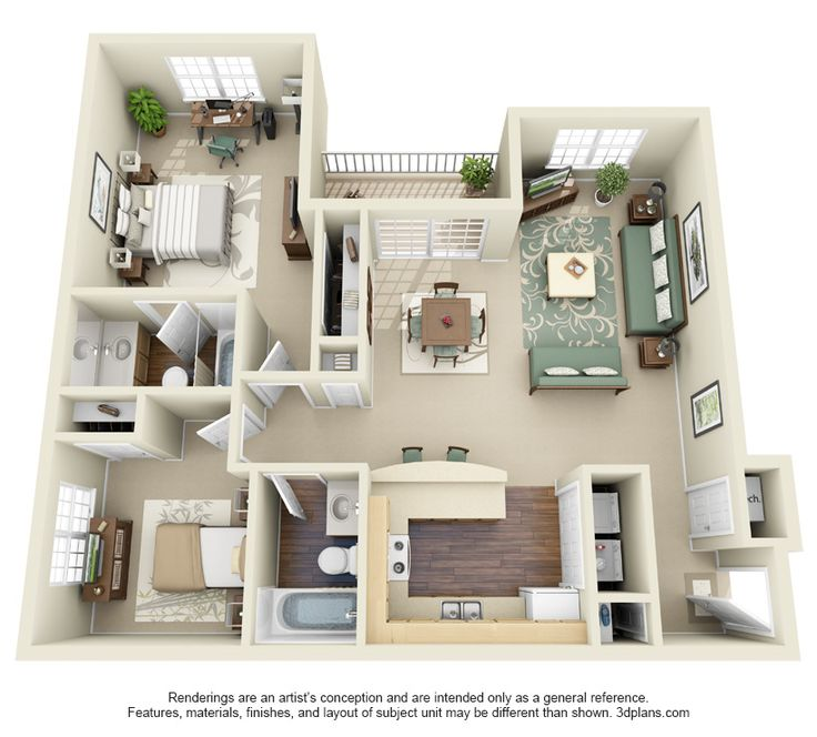 205 best images about house plans on pinterest 2 bedroom apartment design