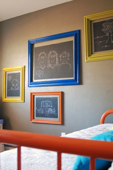 chalkboard frames - kinda like them in different sizes all over the wall. Thoughts youngins?