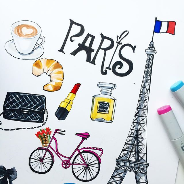 Fashion illustration wall art of Paris by Rongrong Illustration. More fashion wall art at www.rongrongillustration.etsy.com