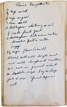 Found this old handwritten doughnut recipe in the back of this 1941 Rumford Complete Cookbook. The whole book tells a story. The Cookbook's Story #vintage #cooking #recipe