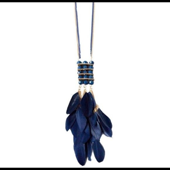 Sale Blue Crystal Tassel and Feather Necklace Sapphire Blue crystal three layered pendant with feather tassels T&J Designs Jewelry Necklaces