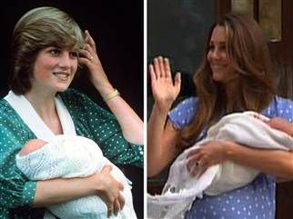 Like Princess Diana, polka-dot clad Duchess Kate shows off newborn prince - TODAY.com