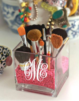 Monogrammed Makeup Brush Holder | Square Glass Vase | Monogrammed Jewelry Holder | Bedside Holder | Nightstand Jewelry Holder |candle holder by LauraAndLilly on Etsy https://www.etsy.com/listing/214025700/monogrammed-makeup-brush-holder-square