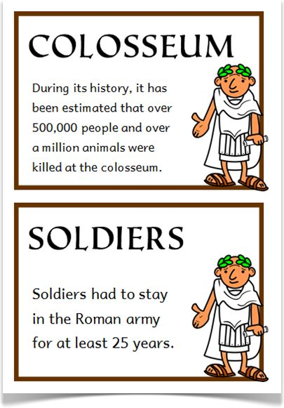 The Romans Fact Cards - Treetop Displays - A set of 20 A5 fact cards that give fun and interesting facts about the Romans. Each fact card has a key word heading, making this set an excellent word bank as well! Visit our website for more information and for other printable resources by clicking on the provided links. Designed by teachers for Early Years (EYFS), Key Stage 1 (KS1) and Key Stage 2 (KS2).