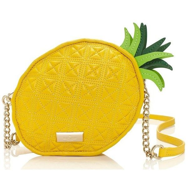 kate spade new york Kate Spade Wing It Pineapple Cross-Body (4 610 ZAR) ❤ liked on Polyvore featuring bags, handbags, shoulder bags, purses, yellow, cross body, kate spade shoulder bag, leather crossbody purse, yellow leather handbag and crossbody purse