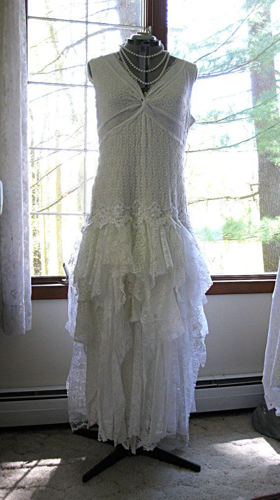 XXL White tattered wedding dress, boho bohemian hippie gypsy bride, Stevie Nicks style, recycled/vintage laces, US size 20,Plus Sz