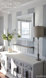 How to Paint Simple Wall Stripes  Absolutely love this look and have been wanting to do this for years.  Stripes can give your space a taller or longer look depending on the horizontal or vertical direction of the stripes.  Check out the blog - | Picklee for more
