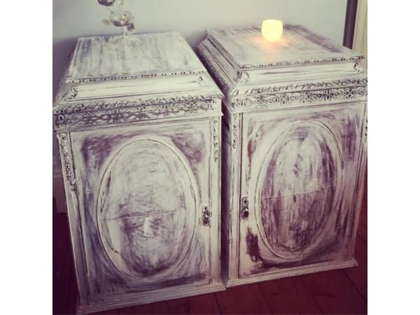 Large vintage French style Victorian desk upcycled bedside tables   Salvaged Victorian bankers desk upcycled into 2 very elegant shabby chic bedside tables   I have a piece of wood that can make it into a desk   Chalk painted - chalk white