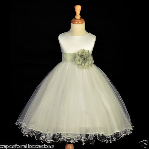 New Ivory Sage Green Flower Girl Dress Christmas Holiday Party 12 18M 2 4 6 8 10 | eBay