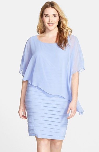 Adrianna Papell Chiffon Overlay Shutter Pleat Plus Size Sheath Dress in powder blue (also avialable in black) - Nordstrom
