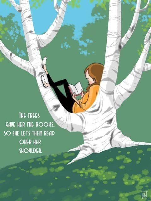 As we are holding a book in our hand, please remember to care for nature. Without trees, we won't have books and bookstores.