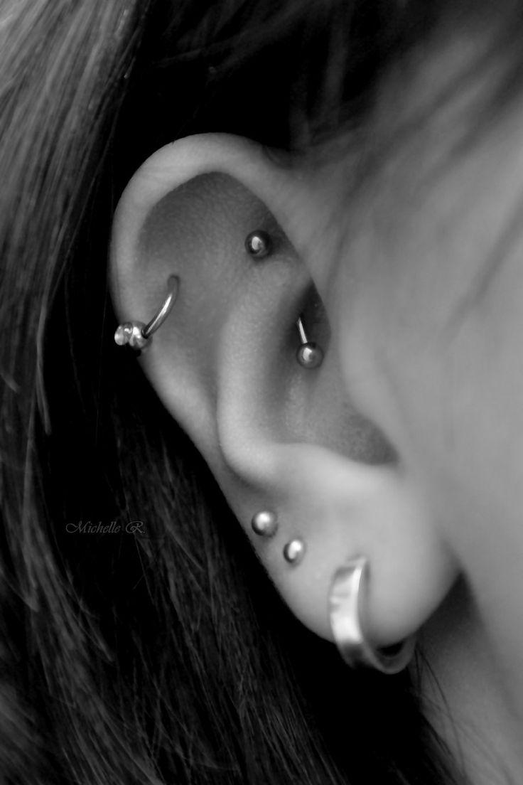 Above nose piercing  Rook piercing featuring bezel set gemstones rook rookpiercing