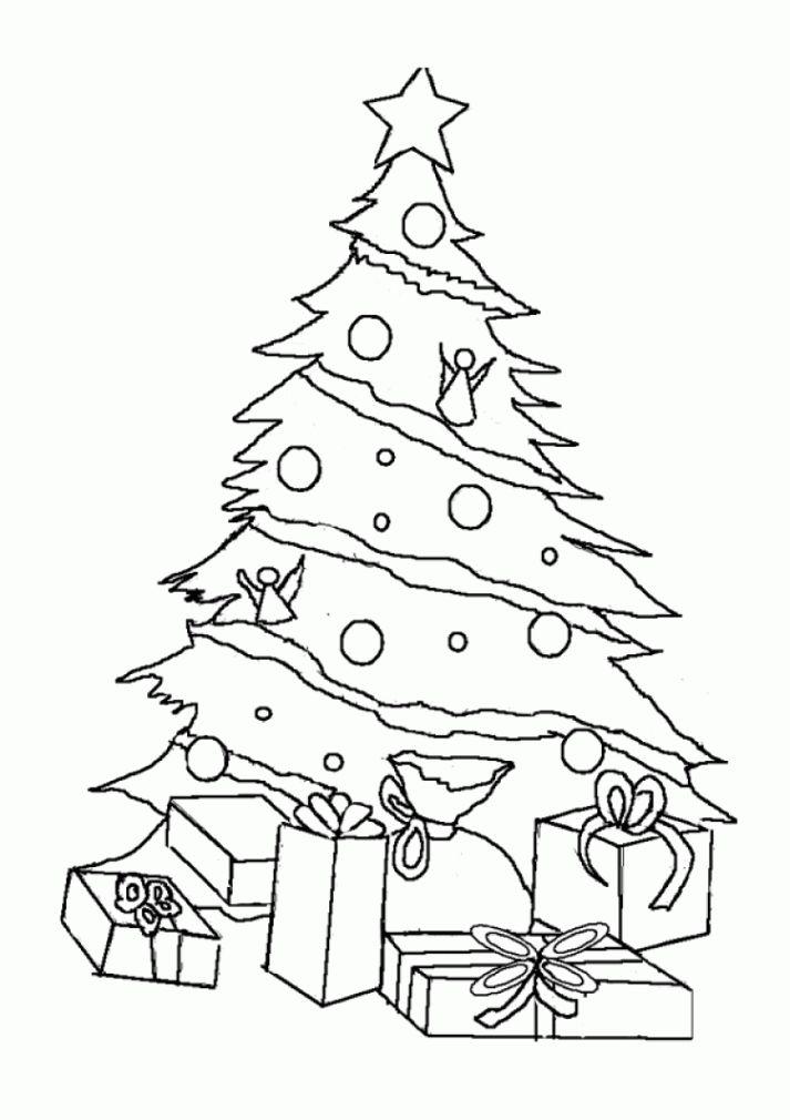 Coloriage Sapin De Noel Cadeaux A Imprimer Regarding Dessin Sapin