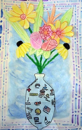 Family Roots that help us Bloom, Belvedere Elementary School  What a great Family project.   This looks to be done in layers, wax crayon and/or oil pastel resist with watercolours and Sharpies for details in the vase.