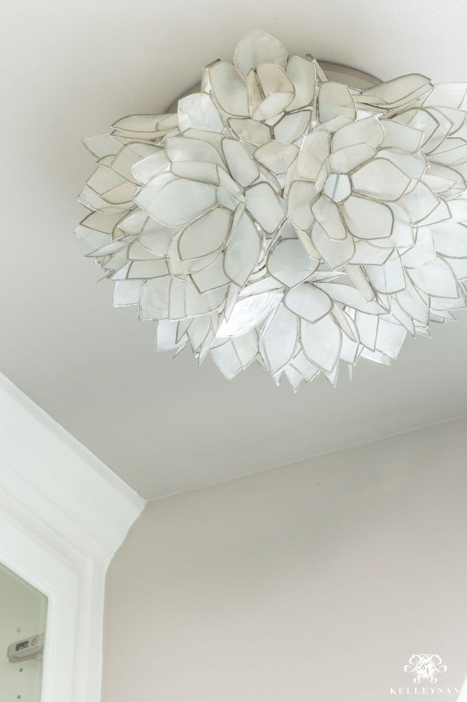 Neutral Pretty Flush Mount Lighting With Capiz Shell The