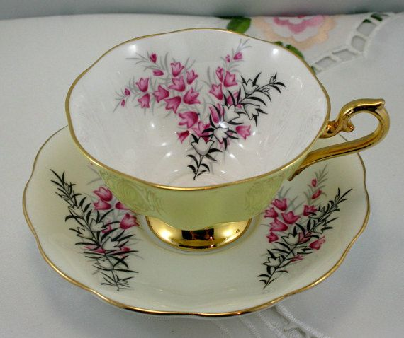 Beautiful, Royal Albert Teacup & Saucer, Lovely Floral Pattern, Pastel Yellow Borders, Gold Rims, Bone English China made in 1960s. In good condition, no chips, cracks, crazing or repairs. The Saucer measures- 5.5 in diameter (14cm) The Cup opening -4 (10cm), with the handle- 4.5 (