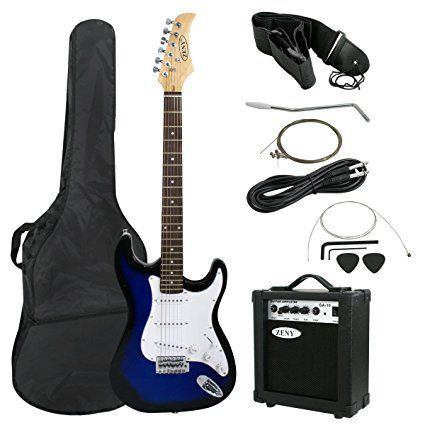 """Zeny 39"""" Full Size Electric Guitar with Amp, Case and Accessories Pack Beginner Starter Package, Blue"""