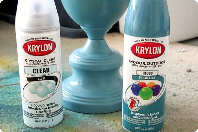 Sprayed BRASS lamp.    Krylon indoor / outdoor spray paint (for glass)  Krylon clear gloss sealer