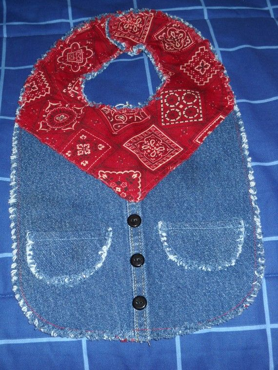 Denim Jean Baby Bib from Upcycled Jeans Reversable.