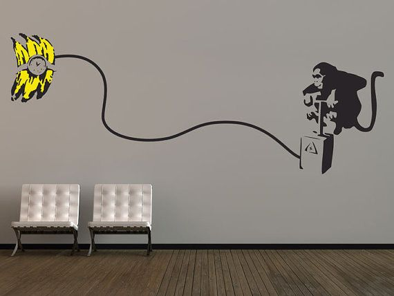 Large Banksy Monkey Bomb Wall Stickers by thebinarybox on Etsy