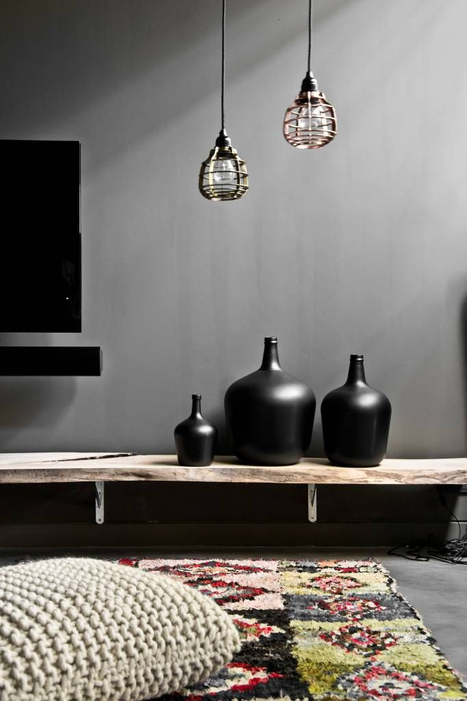 HK-living vaas karaf mat zwart glas