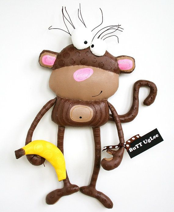 MonKeY named NoKia ... WhimsicaL WaLL ArT ... brown por buttuglee