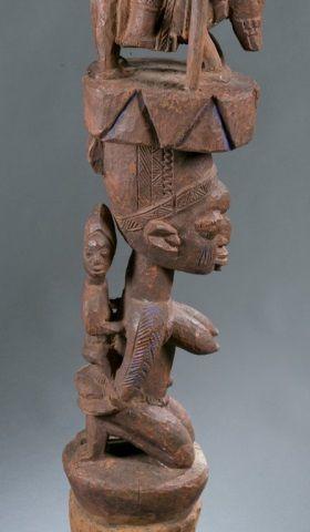 Yoruba carved wood polychrome post.