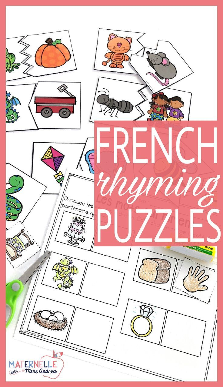 These FRENCH rhyming puzzles are a great way to get your students practicing their rhyming skills! Students will choose a card and find it's rhyming match. There are three sets of puzzles, and each set includes 12 different puzzle designs, making them self-correcting (36 rhymes in total)! Each set also has a cut and paste worksheet that goes with it.