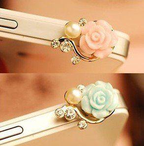 Amazon.com: Rose Flower Pattern 3D Crystal Bead Pearl Diamond 3.5mm CellPhone Charm Anti Dust Plug Earphone Headphone Jack Accessory For iphones, ipods, ipads, Samsung Galaxy series and more - blue: Cell Phones & Accessories