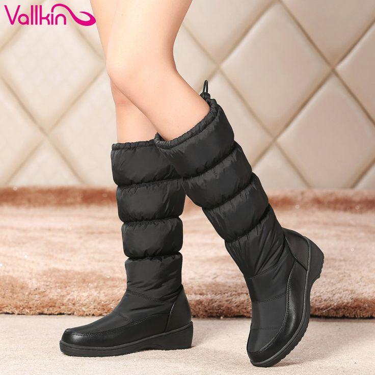 VALLKIN Moda Elegante Branco 2016 PU + Para Baixo Mulheres Calçar Sapatos de Salto Baixo Meados de Bezerro Botas de Neve Botas Mulheres de Moto tamanho 34 43 em Botas das mulheres de Sapatos no AliExpress.com | Alibaba Group