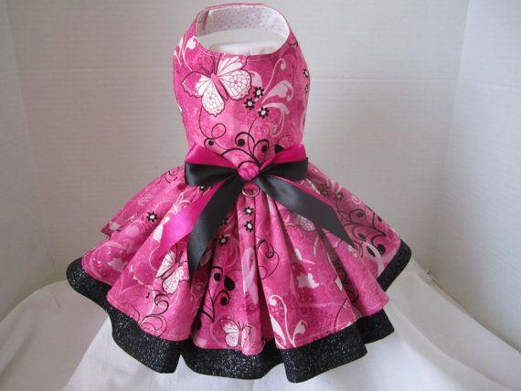 Dog Dress  XS   Pink Butterflies    By by NinasCoutureCloset, $30.00
