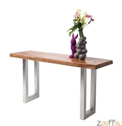Kare Design Nature Line Boomstam Console Tafel - De Kare Design Nature Line Boomstam Console Tafel is een tafel gemaakt van gewaxt acaciahout. Het tafelblad is gevestigd op een onderstel van stalen poten met een antieke look. Een mooi uitziende tafel die voor diverse doeleinden ingezet kan worden.