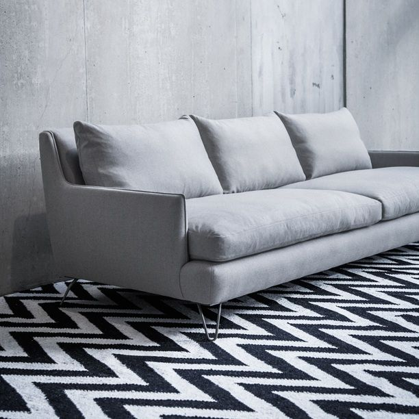 Sarah Sofa. Shown In 100% Wool With Cold Rolled Steel Legs. Available
