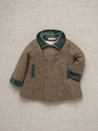 Tweed and velvet toddler boy coat from Marie Chantal