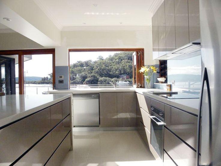 midgrey cupboards white benchtop white floor  dream