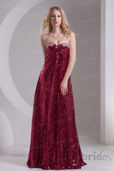 Sheath/column Sweetheart Stretch Satin Sequin Lace Prom Dress