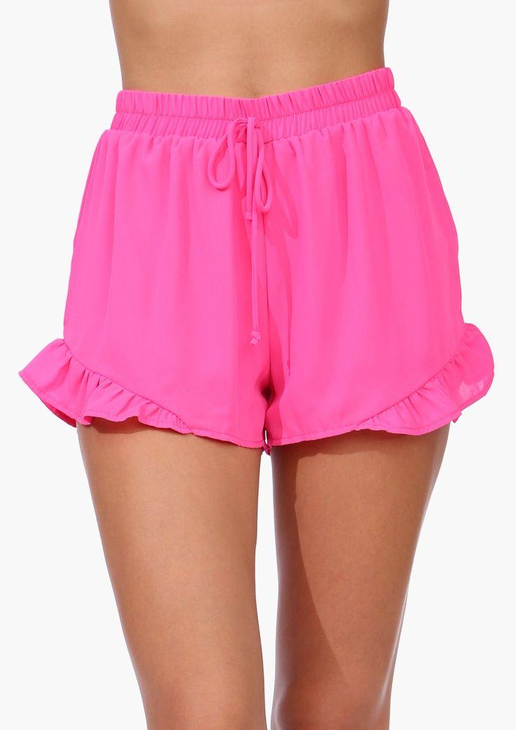 Fuchsia Ruffled Shorts