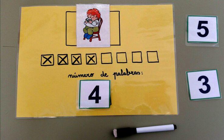 Conciencia léxica: diremos unha frase relacionada co debuxo, e o neno\a terá que poñer tantas cruces como palabras conteña a frase, despois contámolas e collemos o número correspondente.