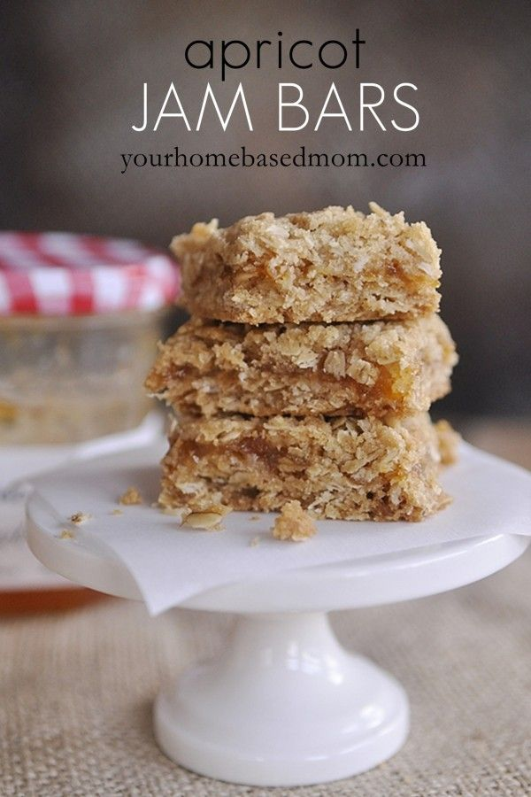 apricot jam bars - These are so simple to make with a small jar of jam. We accidentally left out the baking powder and they were still great. We've tried them with apricot, strawberry and raspberry. All three were great!