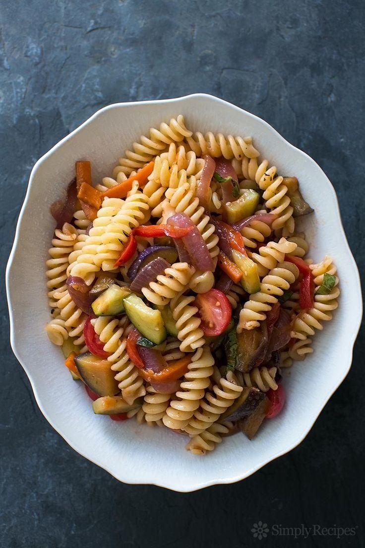 Easy Pasta Primavera ~ Pasta primavera with sautéed fresh seasonal vegetables in a quick marinara sauce. Takes only 30 minutes to make! Easy weeknight meal. #vegan #vegetarian On SimplyRecipes.com