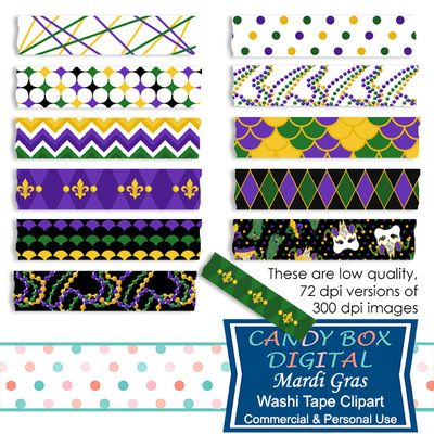 Mardi Gras Washi Tape Clipart by Candy Box Digital. Jester masks, beads, fleur de lis. Great for digital scrapbooks, journals and to highlight your pictures on blogs or websites.