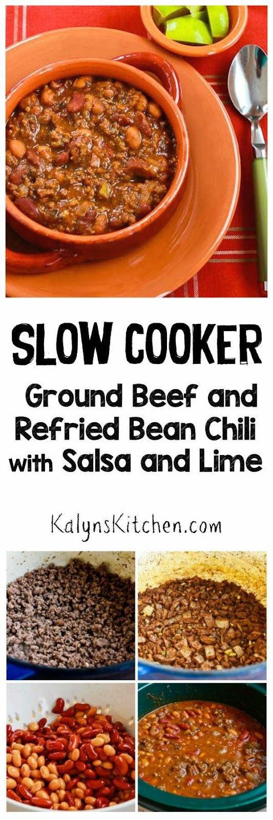 Slow Cooker Ground Beef and Refried Bean Chili with Salsa and Lime ...