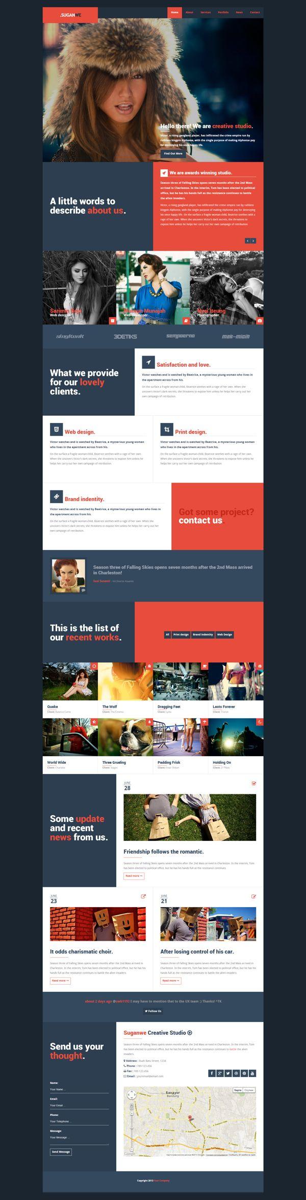 Suganwe - Responsive One Page Template HTML5 by Zizaza & Dezayo Design , via Behance