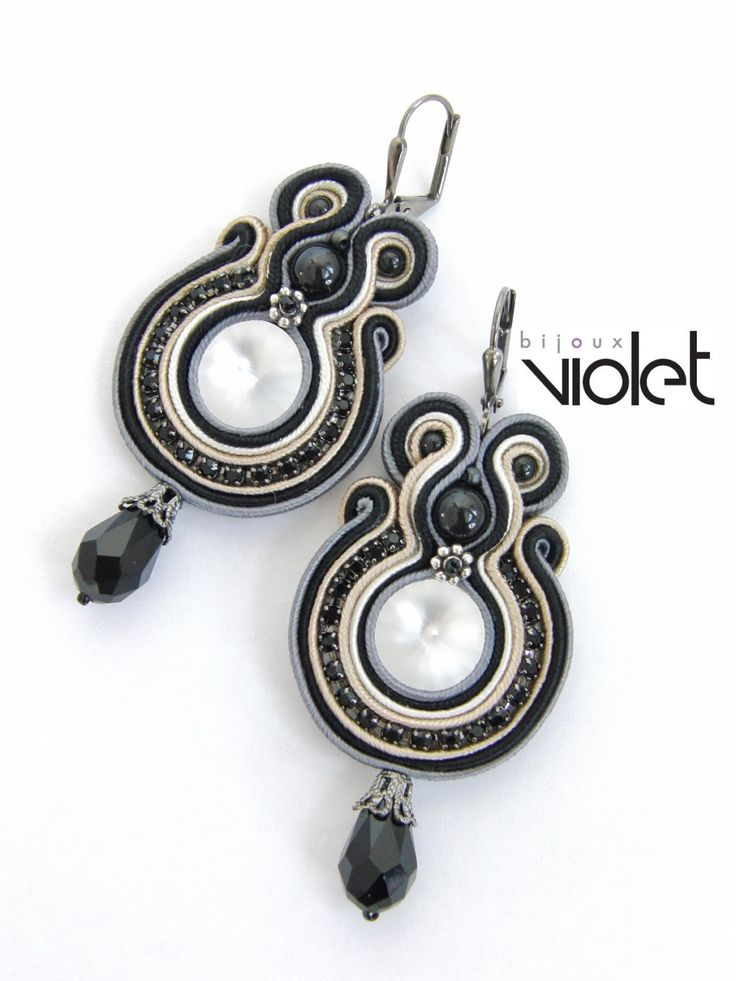 Cream and Balck Soutache Earrings by Violetbijoux on Etsy