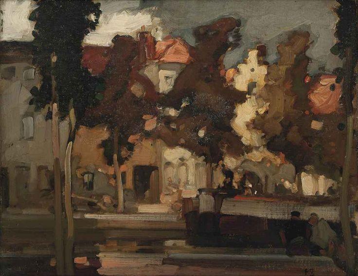 Frank William Brangwyn (1867-1956), Along the Canal. Живопись