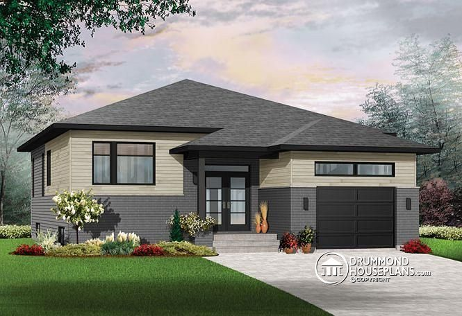 front Modern Rustic house plan, split entry, great open floor plan layout, 9' ceiling, pantry, one-car garage - Urbania