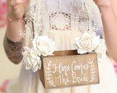 Here Comes The Bride Rustic Flower Girl Basket Barn Wedding Baby's Breath Paper Roses (Item Number MMHDSR10004)