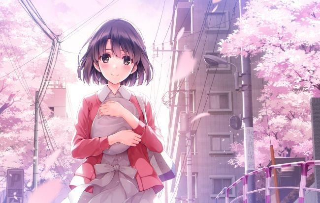 2200x1400 - katou megumi, saenai heroine no sodatekata, sakura blossom, buildings # original resolution