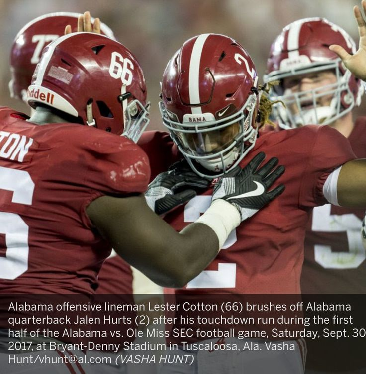 Alabama offensive lineman Lester Cotton (66) brushes off Alabama quarterback Jalen Hurts (2) after his touchdown run during the first half of the Alabama vs. Ole Miss SEC football game, Saturday, Sept. 30, 2017, at Bryant-Denny Stadium in Tuscaloosa, Ala. Vasha Hunt/vhunt@al.com (VASHA HUNT) Alabama 66 Ole Miss 3 #Alabama #RollTide #Bama #BuiltByBama #RTR #CrimsonTide #RammerJammer